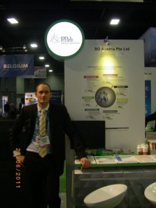 BIO, June 2011. COO Dr John Dangerfield at the SG Austria display stand