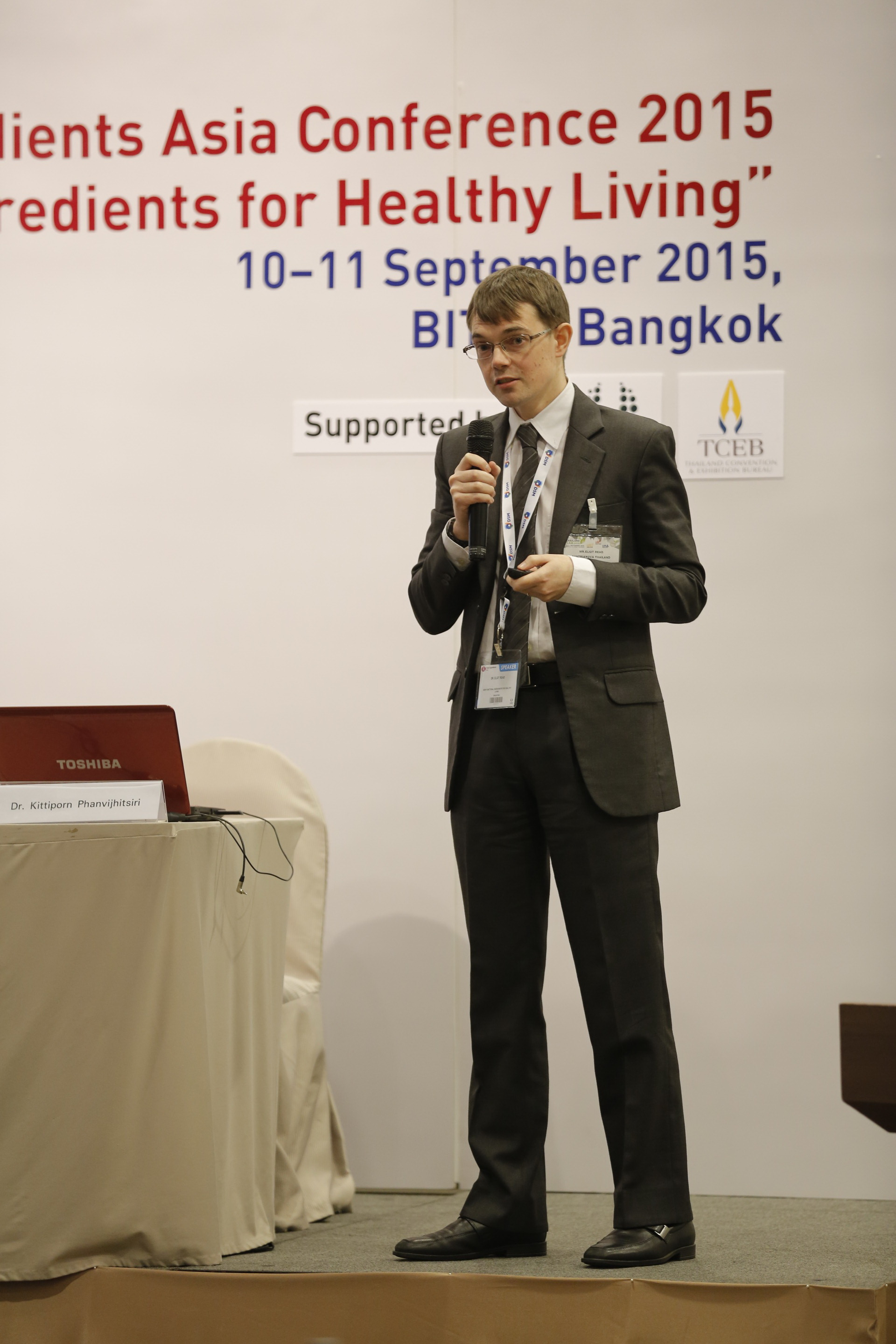 Dr. Eliot Read presenting at Food Ingredients Asia Conference 2015 at BITEC, Thailand